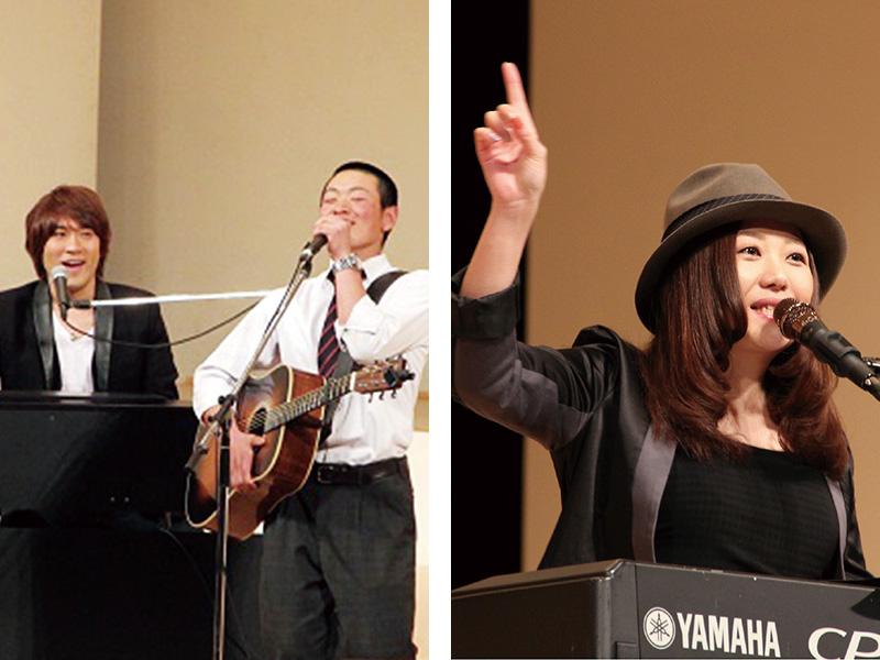 シンガーソングライターによるスペシャルライブ。大野靖之さんと飛び入りの本校生徒(左/2016年)。熊谷郁美さん(右/2017年)。