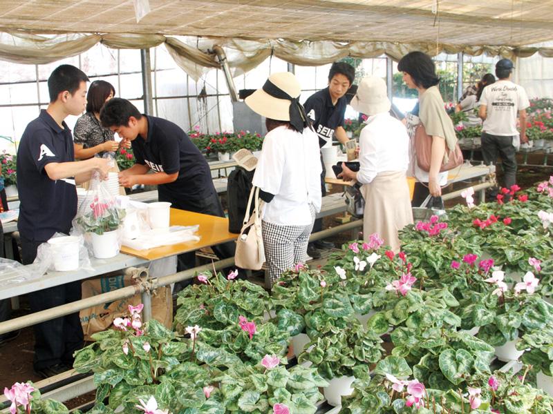 生産ビジネス科による花と野菜販売